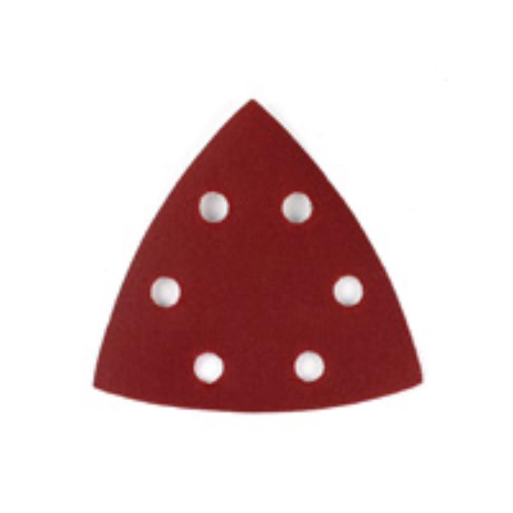 DEWALT Dreieck-Schleifpapier-Klettfix 94 x 94mm K120, gelocht (6 Loch ringförmig) DT3563