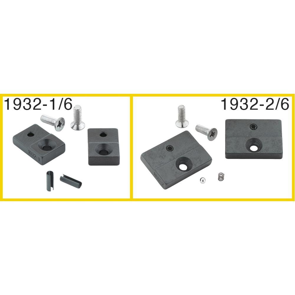 Ersatzteil-Satz: 1 Paar Prägebacken, 30 mm breit, 2 Schrauben, 2 Spannhülsen