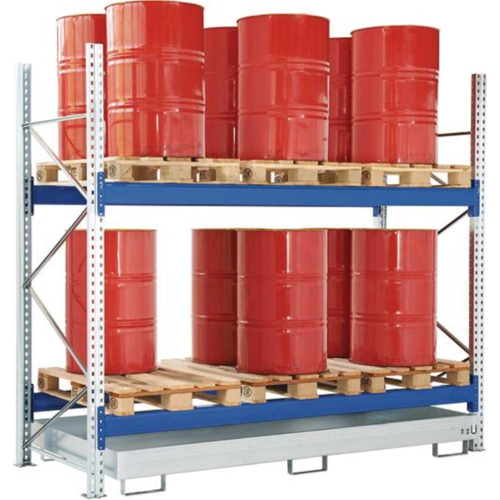 Fasslagerregale - Anbaufeld, für Palettenlagerung  2780 x 1100 x 2500, RAL5010 Enzianblau