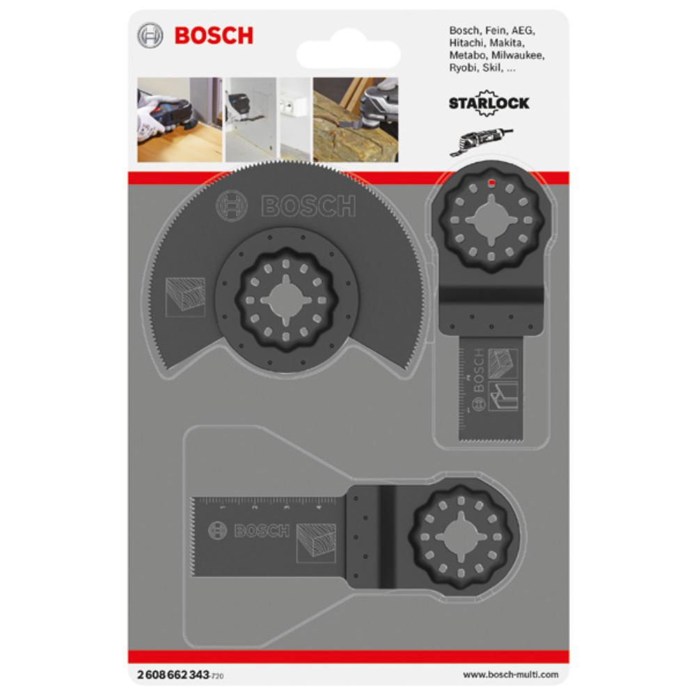 Bosch Professional 2608662343 2 608 662 343 Universal-Set f/ür Multi-Cutter 3-teilig