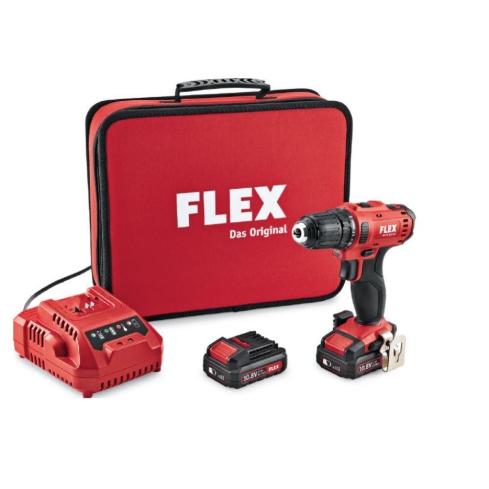 flex 10,8 volt akku-bohrschrauber dd2g 10.8-ld 2x 2,5ah akku in