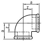 Gewindefitting Winkel EN10242 Temperguss blank 0,5 inch 28 mm  10 Stück
