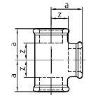 Gewindefitting T-Stück EN10242 Temperguss feuerverzinkt 1/2 ZO 28 mm  10 Stück