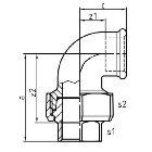 Gewindefitting Winkel EN10242 Temperguss blank 0,75 inch 62 mm  10 Stück