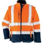 Warnschutz Softshell-Jacke EN 20471 (EN 471)  Klasse 3 beim Tragen mit Ärmeln warnorange blau | L