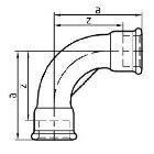 Gewindefitting Bogen lang EN10242 Temperguss feuerverzinkt  1 ZO 85 mm  10 Stück