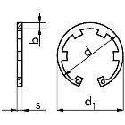 Sicherungsring mit Lappen Form JK DIN 984 Stahl blank  75 x 2,5  50 Stück