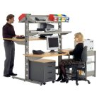 PC-Stationen und Steh-Arbeitsplätze, zweiseitigeNutzung, 1306 x 1700 x 1785,RAL9007 Graualuminium
