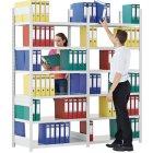 Büroregale -Set-Grund-und Anbaufeld, 2-seitigeNutzung, 2066 x 624 x 2200, RAL7035 Lichtgrau