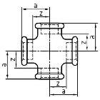 Gewindefitting Kreuzstück EN10242 Temperguss feuerverzinkt 1/2 ZO 28 mm  20 Stück