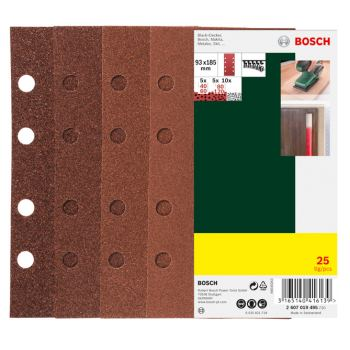 Schleifblatt-Set für Schwingschleifer, 25-teilig, 8 Löcher, 93 x 185 mm, 40-120