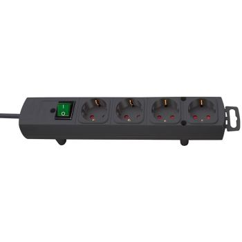 Comfort-Line Steckdosenleiste 4-fach schwarz 2m H05VV-F 3G1,5