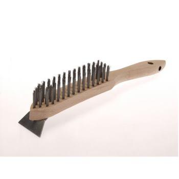 Handbürsten mit Schaber 6 Reihen Stahldraht STA glatt 0,35 mm
