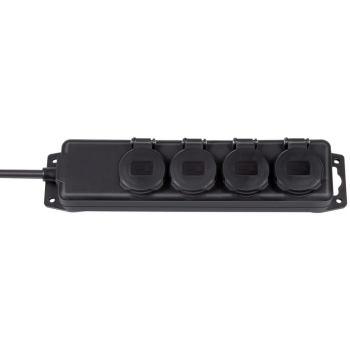 Steckdosenverteiler IP44 4-fach schwarz 2m H07RN-F 3G1,5
