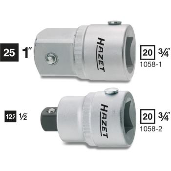Adapter 1058-1 · Vierkant hohl 20 mm (3/4 Zoll) · Vierkant massiv 25 mm (1 Zoll) · l: 60.6 mm