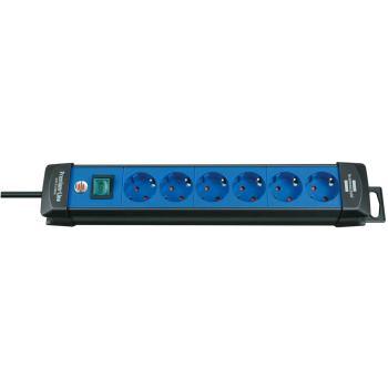 Premium-Line Steckdosenleiste 6-fach schwarz/blau