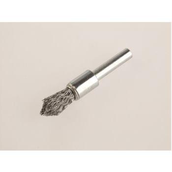 Pinselbürsten mit 6 mm Schaft angespitzt Drm 12 mm lang 60 mm Stahldraht rostfrei ROF gew. 0,30