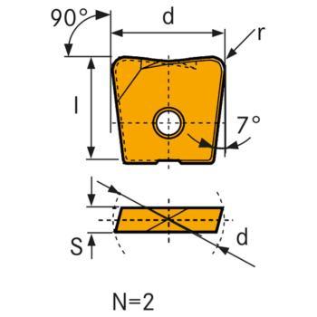 Hartmetall Wechselschneidplatte WPB-CF 20 mm LC61