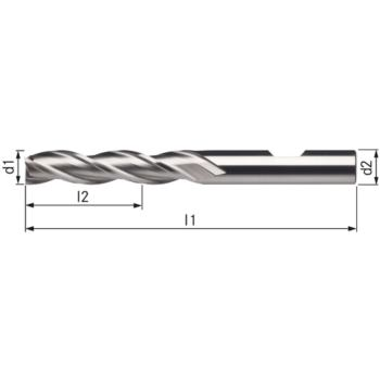 Bohrnutenfräser DIN 844B/N lang 3,0x12x56mm HSSE8