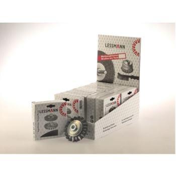 Displaykarton Inhalt : 12 Stück Zopf-Kegelbürsten Drm 100 x 12 mm 18 Z Stahldraht STH glatt 0,5
