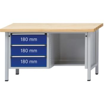 Werkbank Modell 303 V Sitzer Platte Buche Mas
