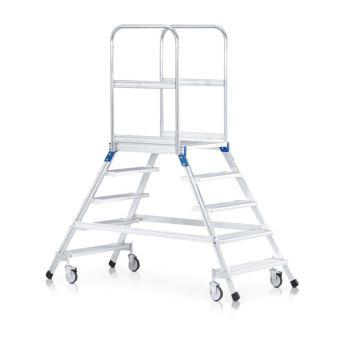 Podesttreppe fahrbar Z 600 beidseitig begehbar mit Leichtmetall-Stufen | 41985