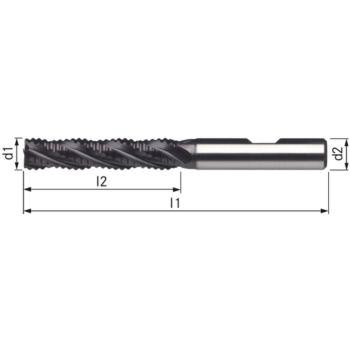 Schaftfräser PM-TiCN+TiN Typ NR 6 mm DIN 844B/l S