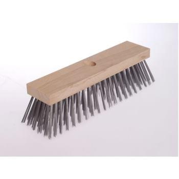 Besen Flachholz 300 x 70 mm 6 x 20/ 21 rhg. St ahldraht rostfrei ROF glatt ca. 0,50 mm hoch 70 m