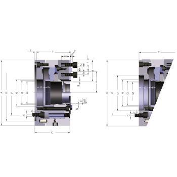 Kraftspannfutter KFD-HS 200, 3-Backen, Kreuzversatz, Zylindrische Zentrieraufnahme