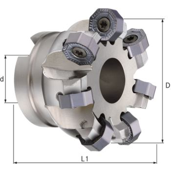 HPC-Planmesserkopf 45 Grad Durchmesser 63,00 mm Z= 9