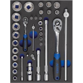 Modul-Hartschaumeinlage Steckschlüsselsatz mit Sec hskanteinsätzen