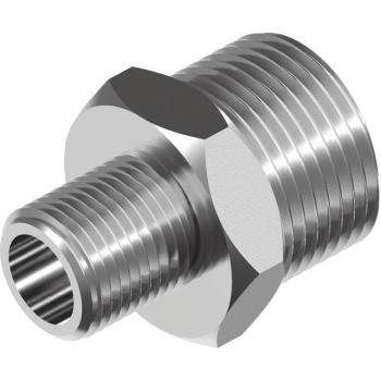 """Sechskant-Reduzier-Doppelnippel WS9641 Edelst. A4 A/A-Gewinde R 3/4x 1/2"""""""