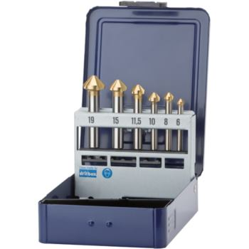 Kegelsenker in Metallkassette 6 -19 HSS-TiNALOX DI N 335C 90 Grad