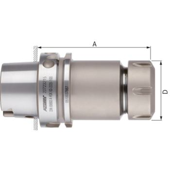 Fräserspannfutter lang ER 32 HSK 63-A DIN 69893-1 Spannbereich 2-20