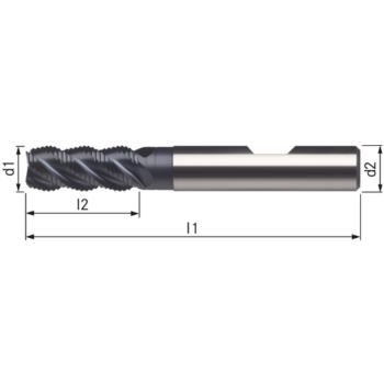 Schruppfräser HSSE-PM-TiAlN 4x11x55 mm Schaft DIN 1835B