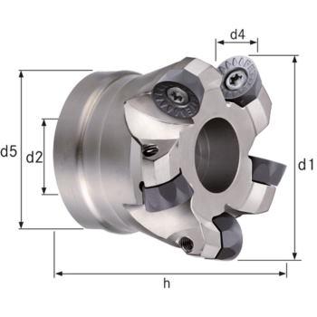 Planfräser/Kopierfräser Z=6 Durchmesser 80 mm, d2 = 27 mm, Z=6