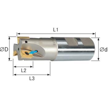 Schaftfräser für Wendeschneidpl. IK Z=2 25x200mm S chaft D=25mm DIN 1835B