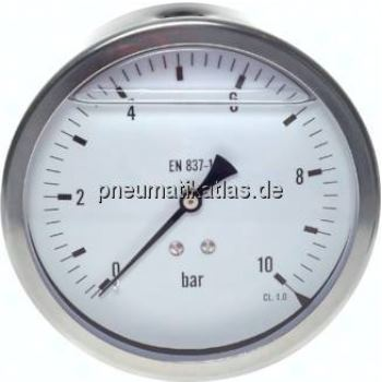 Glycerin-Manometer waagerecht (CrNi/Ms),100mm, 0 -10bar