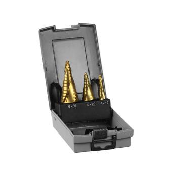 Stufenbohrer HSS-TiN-Set, 3-teilig, 4 - 12 mm, 4 -