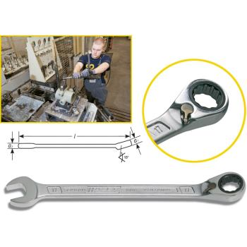 Knarren-Ring-Maulschlüssel 606-19 · s: 19 mm · Außen-Doppel-Sechskant Profil · l: 268.3 mm