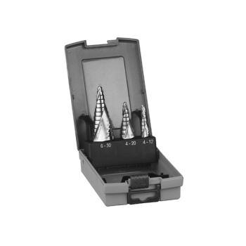 Stufenbohrer HSS-Set, 3-teilig, 4 - 12 mm, 4 - 20