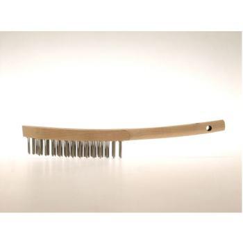 """Handbürsten 3 Reihen Stahldraht rostfrei RO8 gla tt 0,30 mm W.-Nr. 1.4860 magnetfrei """"LESSMANN"""""""