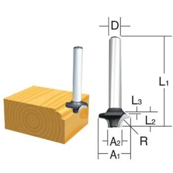 Abrundfräser Ø 15mm ( Schaft 6mm )