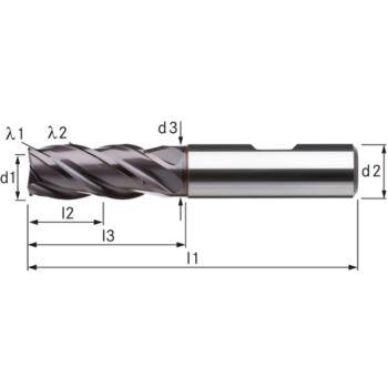 Vollhartmetall-HPC-Schaftfräser, kurz Durchmesser