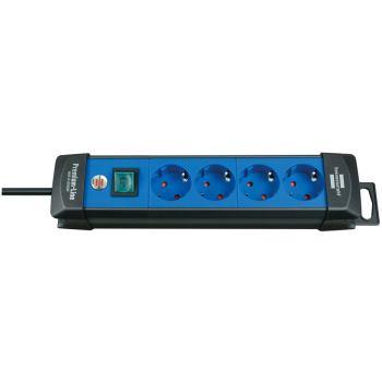 Premium-Line Steckdosenleiste 4-fach schwarz/blau