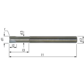 PKD-Torusfräser Z=2 10x100 mm R=0,5 mm L3=50 mm