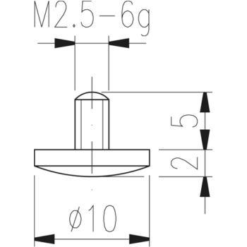 Messeinsatz Typ 12 gewölbt, Durchmesser 10 mm