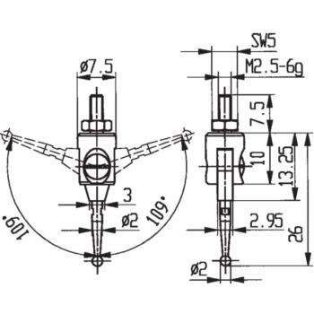 Messeinsatz Typ 33 Taster beidseitig 109 Grad schw
