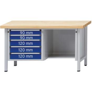 Werkbank Modell 344 V Sitzer Platte Buche Mas