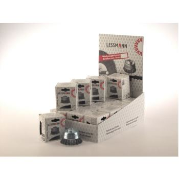 Displaykarton Inhalt : 20 Stück Zopf-Topfbürsten Drm 65 mm 18 Z Stahldraht STH glatt 0,50 mm
